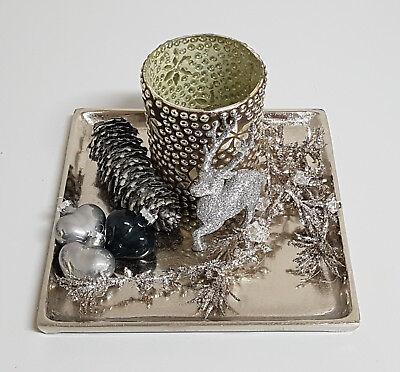 Edle Deko Schale Aluminium Raw Finish Geschwungen Luxus Silber von Colmore 33 cm