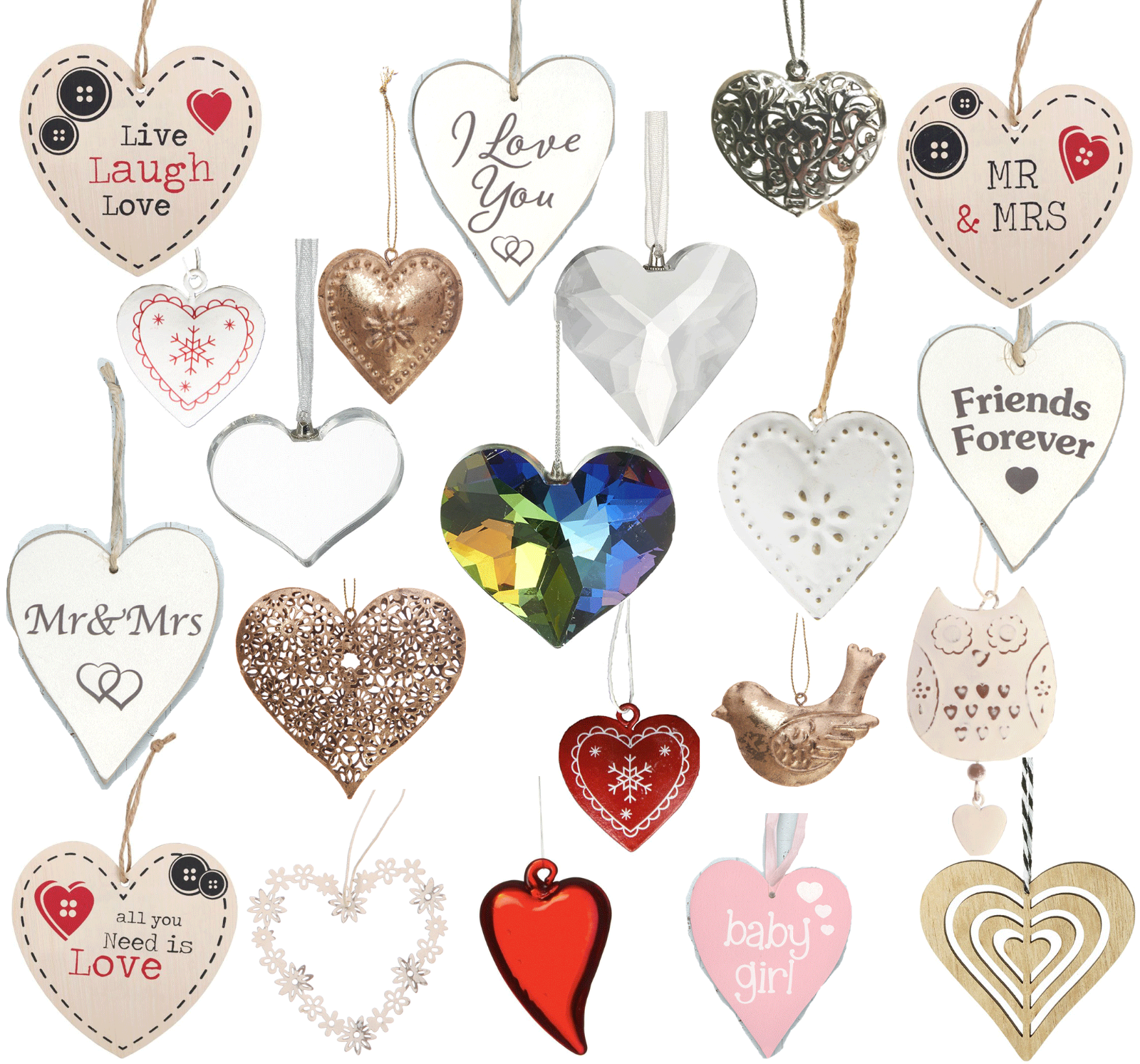 Vintage Style Shabby & Chic Wedding Hanging Hearts Heart Home Decoration Gift 2