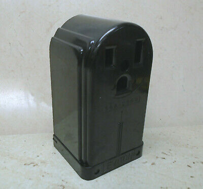 LEVITON 50A 250V Receptacle Surface Mount VTG Bakelite Electric Outlet ART DECO 2