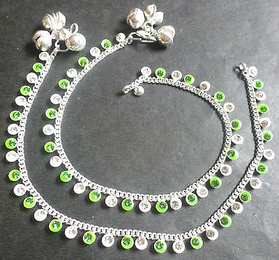 """Indian Silver Plated 10/"""" Payal Foot CZ Stone Design Chain Light Anklet Set h..."""