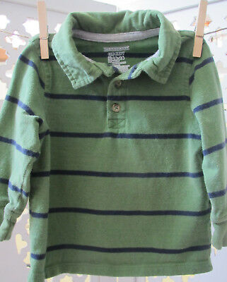 Old Navy Toddler Boy Rugby Polo Shirt, 18-24 Months, Lot of 2, Green Stripe Top 7