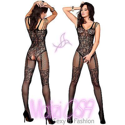 Catsuit bodystocking sexy lingerie hot intimo donna a rete calza corpo tutina
