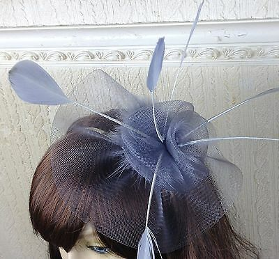 grey netting feather hair headband fascinator millinery wedding hat ascot race 2
