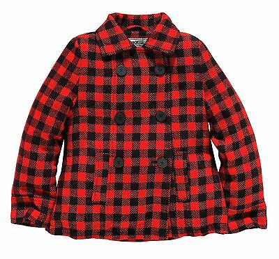 Girls Beautiful Red Check Coat Quilted Lining 5-6 7-8 9-10 Yrs Free Uk P&p 2
