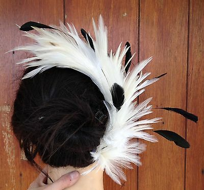 Ivory feather comb fascinator millinery wedding bridal race ascot hair piece hat 2