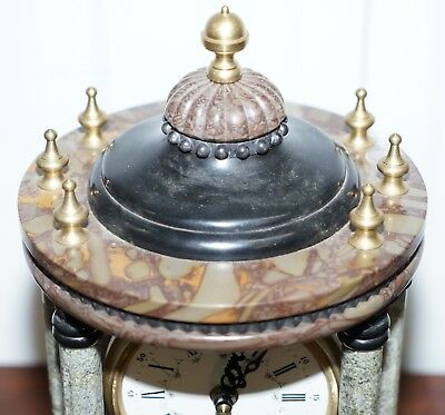 Vintage Marble Pillared Clock With Working Pendulum Movement Nautical Theme 2