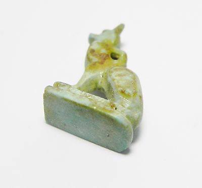 Zurqieh -Q216- Ancient Egypt , Nice Faience Cat Amulet .  600 - 300 B.c 4
