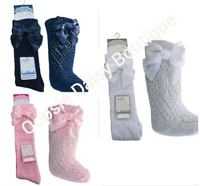 Baby Girls Spanish Romany Pelerine Heart Knee High Bow Socks Pink by Soft Touch