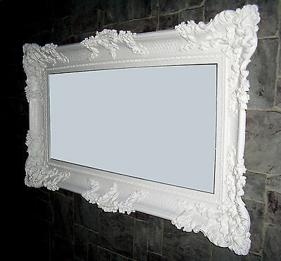 specchio parete xxl bianco 96x57 antico barocco shabby chic per corridoio trucco eur 85 49. Black Bedroom Furniture Sets. Home Design Ideas