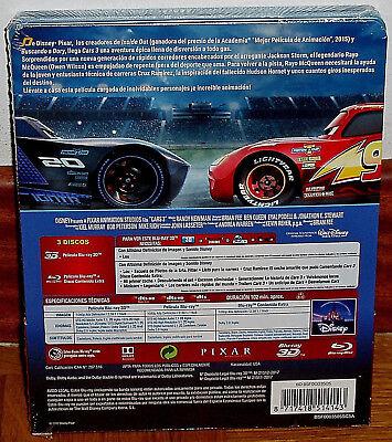 Cars 3 Steelbook Blu-Ray 3D+Blu-Ray+Extras Nuevo Precintado Disney(Sin Abrir) R2 2