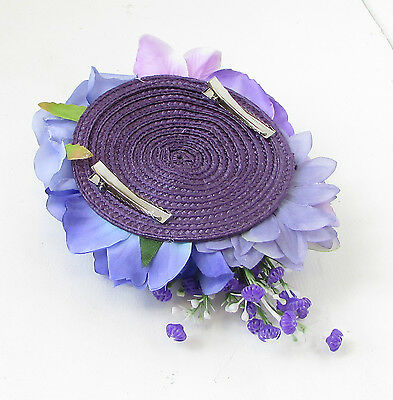 Purple Lilac Rose Peony Flower Fascinator Hair Clip Rockabilly Races Vintage 103 9