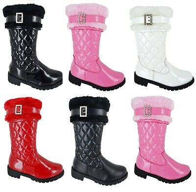 New Kids Girls Flat Quilted Infant Fur Mid Calf School Winter Boots Uk Size 7-3 2
