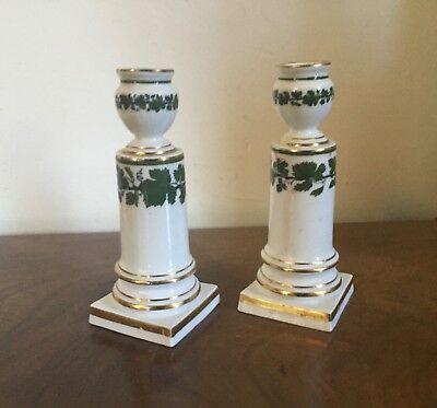 Pair Antique German Meissen Porcelain Candlesticks Green Napoleon Ivy Empire 6