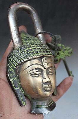 Buddhism Bronze Shakyamuni Sakyamuni Buddha Head Statue lock-up Key 2