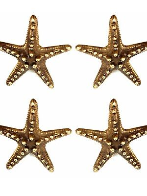 4 small STAR FISH solid BRASS knobs TROPICAL VINTAGE old style 70 mm B 11