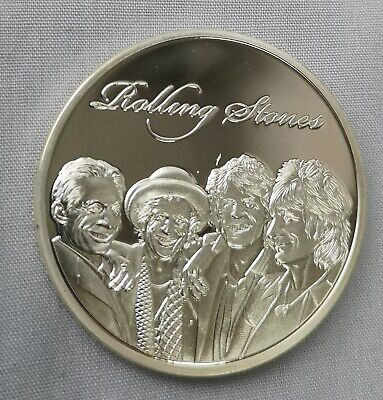 Rolling Stones Silver Coin Rock n Roll Pop Music Band Songs Rockers 60s Retro UK 7