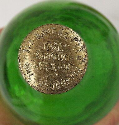 Flasche DDR alte Antik Glas Brenn Spiritus Feuergefährlich Feuer Flamme VEB Grün 4