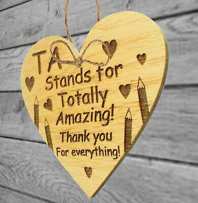 Thank You Gift For Teacher Teaching Assistant Leaving School Gifts Wooden Heart 5