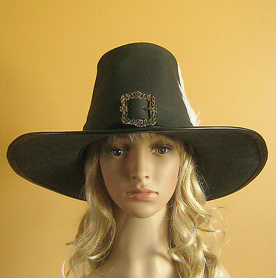 92e6b3cd427fd ... Medieval Celtic Renaissance SCA Larp Leather Witch Huntress Hat Women 3