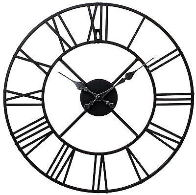 Large Outdoor Garden Wall Clock Big Roman Numerals Giant Open Face Metal 40,60Cm 3