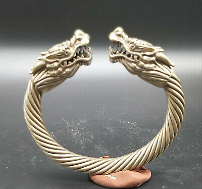 Very Antique Excellent Old  Dragon Animals Head Wonderfull Sliver Plated Bangle 5