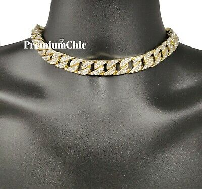 """ICED Miami Cuban Choker Chain Necklace Hip Hop Mens Gold Silver 14mm 16"""" - 30"""" 3"""