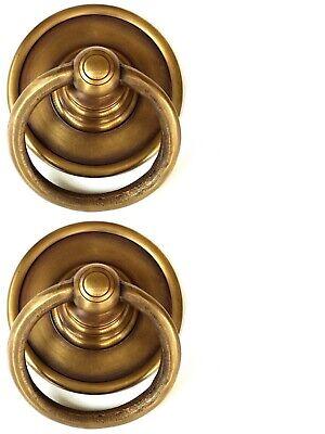 "2 medium 7.5 cm round handle ring pull solid 100%brass heavy OLD style DOOR 3"" B 12"