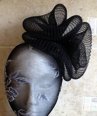 black fascinator millinery burlesque wedding hat hair piece ascot race bridal x 2