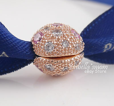 b615c1d45 ... COSMIC STARS Genuine PANDORA Rose GOLD Plated Pink/Clear Cz CLIP  Charm/Bead NEW