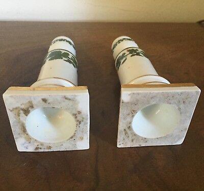 Pair Antique German Meissen Porcelain Candlesticks Green Napoleon Ivy Empire 12
