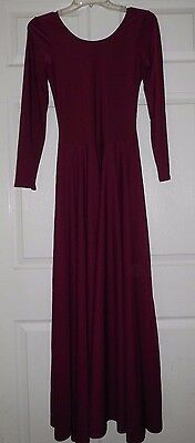 NWT Praise Wear Liturgical Dance Long Sleeve Wine Dress Ladies/Girls Szs 76176