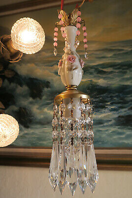 Vintage Capodimonte Pink ROSE porcelain Brass swag lamp chandelier French Chic 2