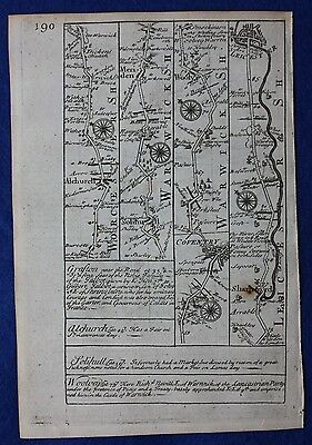 Original antique road map HEREFORD, WORCESTER, DROITWICH, Emanuel Bowen, 1724 3