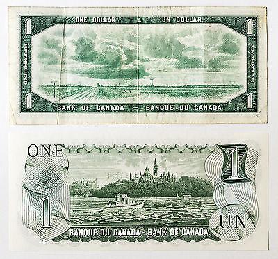 2 different Canada paper money $1 1973 Au-Unc. & $1 1954 vf