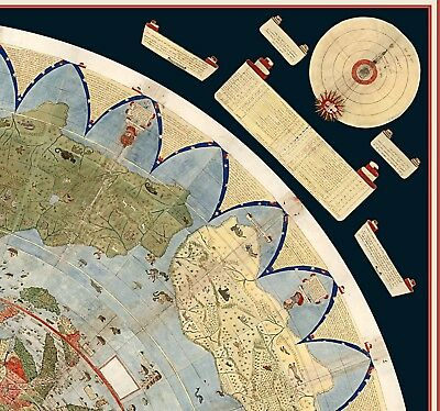 1587 Flat Earth Map of the World Urbano Monte Historic Wall Poster Globe Model 2