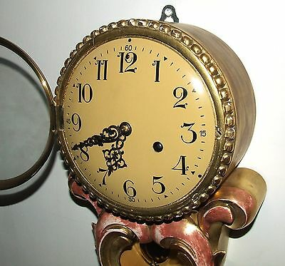 Antique Style Cartel Wall Clock Pink & Gilt Decorative Finish Shabby Chic 4