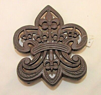 FLEUR DE LIS Trivet Cast Iron Ornate Kitchen Decor Pot ...