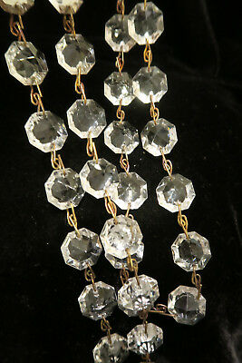 """35"""" vintage ITALY Crystal Glass Prism chain Lamp Chandelier sconce Part brass 10"""
