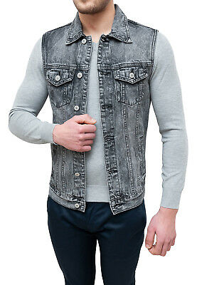 Spring Giubbotto Smanicato Jeans Uomo Casual Grigio Cardigan Gilet Slim Fit Aderente