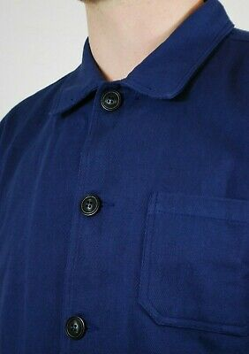 60s Style French Navy Blue Cotton Twill Canvas Chore Worker Jacket - All Sizes 7