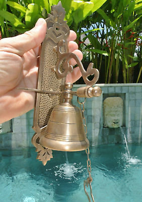 Front Door Bell pull chain solid brass old vintage style 26cm screws outdoor B 2