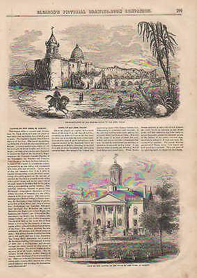 San Jose, Texas, Old Spanish Ruins, Mission, Vintage, 1852 Antique, Art, Print.