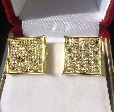 1 Of 6free Shipping Mens 14k White Gold Finish Real Silver Square Lab Diamond Earrings Studs