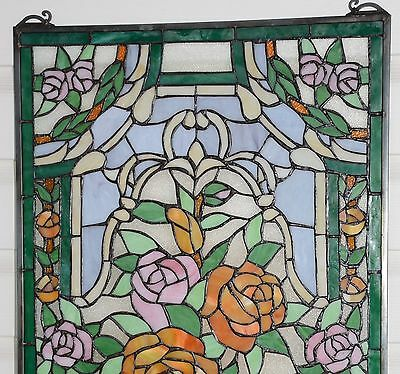 "20"" x 34""Rose Flower Tiffany Style stained glass window panel 10"