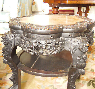 Chinese Hardwood Fish Bowl Jardiniere Stand Table  Qing Dynasty 19th C 2