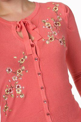 Teal Floral Roses Embroidery Vintage 1950/'s Retro Cardigan By BANNED Apparel