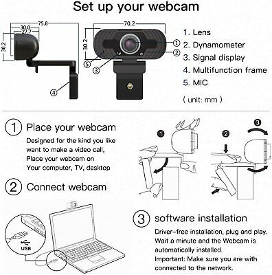 Full HD 1080P Webcam With Microphone USB For PC Desktop Laptop NEW UK Stock 9