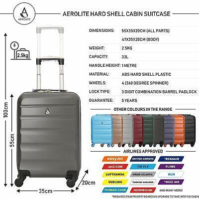 Aerolite Lightweight Luggage Set ABS Hard Shell 4 Wheel Spinner Suitcase 3-Piece 2