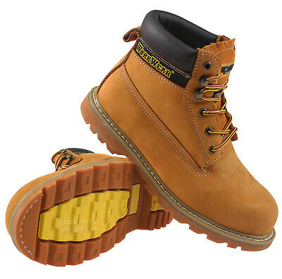 MENS LEATHER SAFETY BOOTS STEEL TOE CAP ANKLE HIKER WORK LACE BROWN SHOES UK SZ