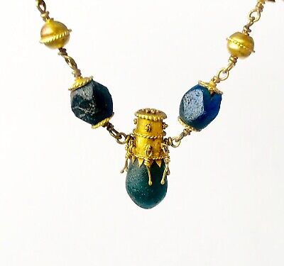 BEAUTIFUL Ancient Roman Gold Pendant Necklace With Green And Blue Glass Beads 7